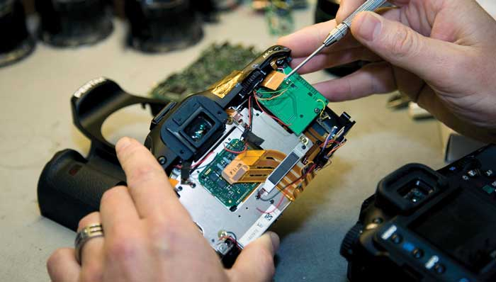 Repairing camera with micro tools