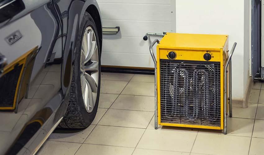 Garage heater near the car